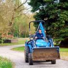 Karen on a tractor
